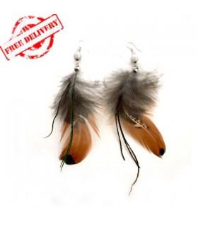 Boucles d'oreilles plumes brun