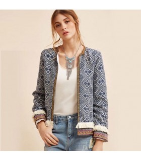 Manteau à franges tribal avec broderie