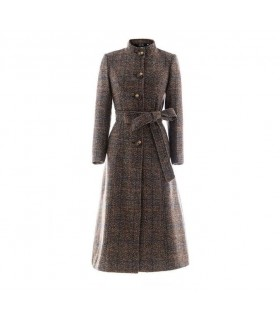 Plaid english long coat