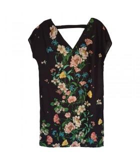 Bequemes Kleid mit schwarzem Blumenmuster aus Leinen