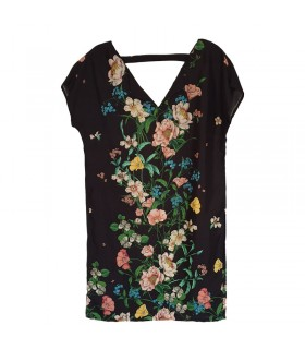 Linen black flower pattern comfy dress
