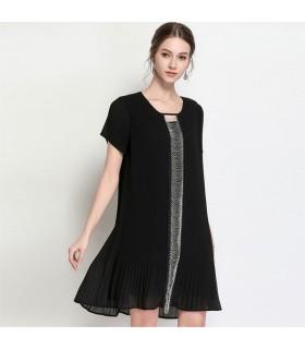 Robe plissée noire sexy petites chaînes en métal