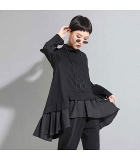 Schwarzes asymmetrisches Rüschen Sweatshirt