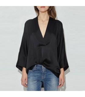 Black kimono silk shirt