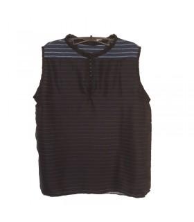 Top soft con linee scintillanti in cotone e seta