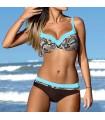 Colore blue push up bikini swimwear