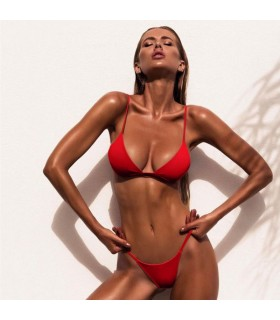 Maillot de bain bikini sexy rouge