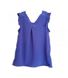 Top senza maniche in seta blu