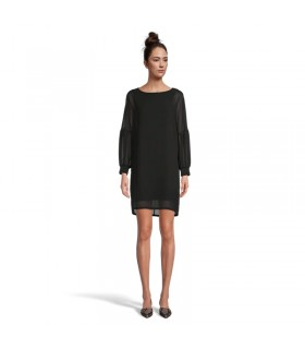 Long sleeve silk black dress