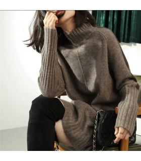 Robe à manches longues en laine et cachemire