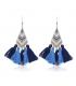 Blaue geometrische lange Quaste Bohemien Ohrringe