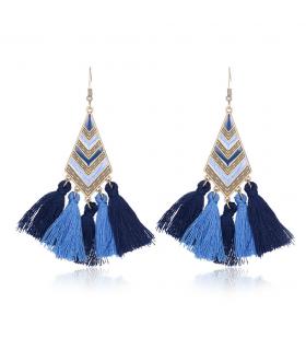 Orecchini bohemian lunghi in nappa geometrica blu
