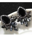 Grey black resin gems earrings