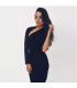 One arm off shoulder black midi dress