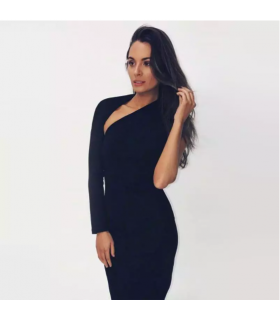 One arm off shoulder black midi dress