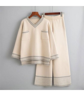 Knitted Two-piece Outfit wide-legged pants suit