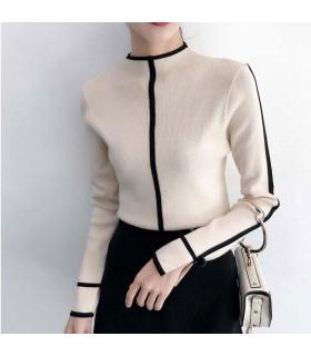 Maglione moderno strutturato beige con linee nere