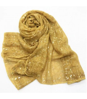 Glitter viscose shimmer mustard-yellow scarf
