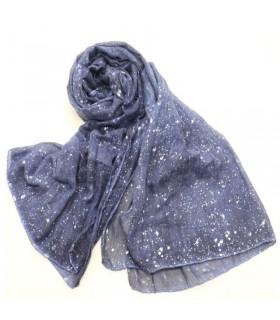Glitter viscose shimmer blue scarf