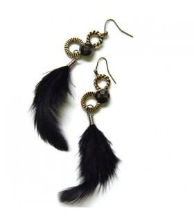 Boucles d'oreille de plumes naturelles noires