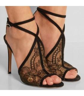Noir talons hauts sandales compensées