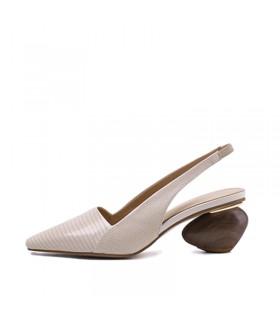 Sandales en cuir beige chaussures talon géométrique