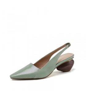 Sandales en cuir vert chaussures talon géométrique