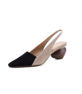 Sandales en cuir noir et beige chaussures talon géométrique