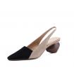 Sandalen Leder schwarz und beige Schuhe geometrischen Absatz