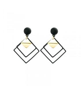 Boucles d'oreilles goutte géométrique noir et or
