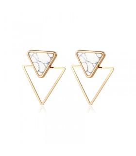Drop geometric marble earrings