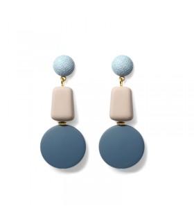Blaue Ohrringe mit baumelnden Tropfen aus Holz