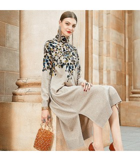 Knitted leaves print dress