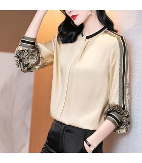 Elegant real silk shirt with print