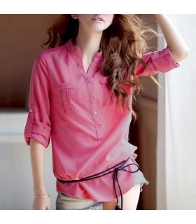 Pink leisure chiffon shirt
