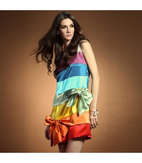 Rainbow satin dress