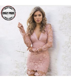 Sexy lace pink mini dress