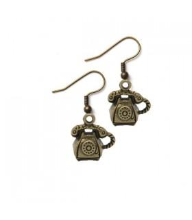 Boucles d'oreilles bronze de téléphone