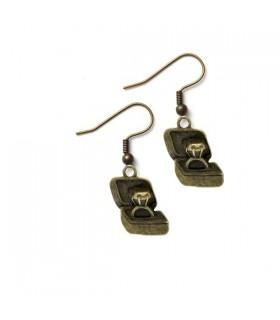 Boucles d'oreille de bronze boîte de trésor
