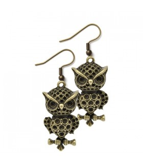 Owl bronze earrings