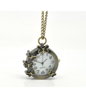 Vol de papillon horloge collier