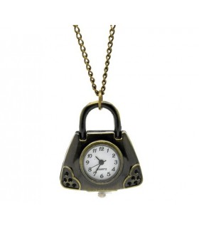 Collier horloge antique sac