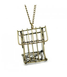 Bronze cage bird necklace