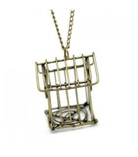 Collier oiseau cage bronze