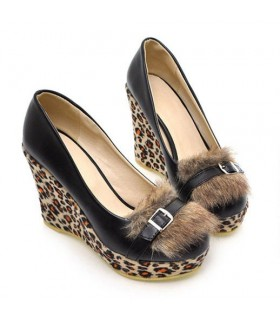 Scarpe moda leopard pelliccia