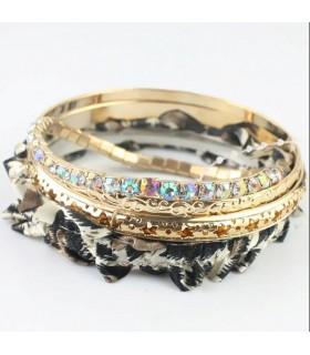 Rhinestone embellished four circles bracelet leopard