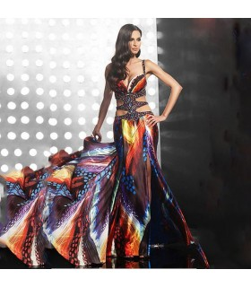 Robe longue sexy couleur embelli