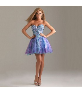Short colored gems strapless dress