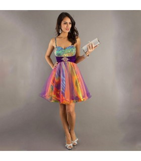 Arc-en-ciel courte paillettes robe couleur