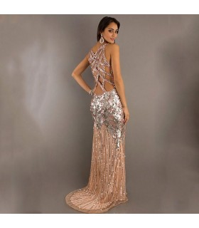 Long v-neck gold sequin dress